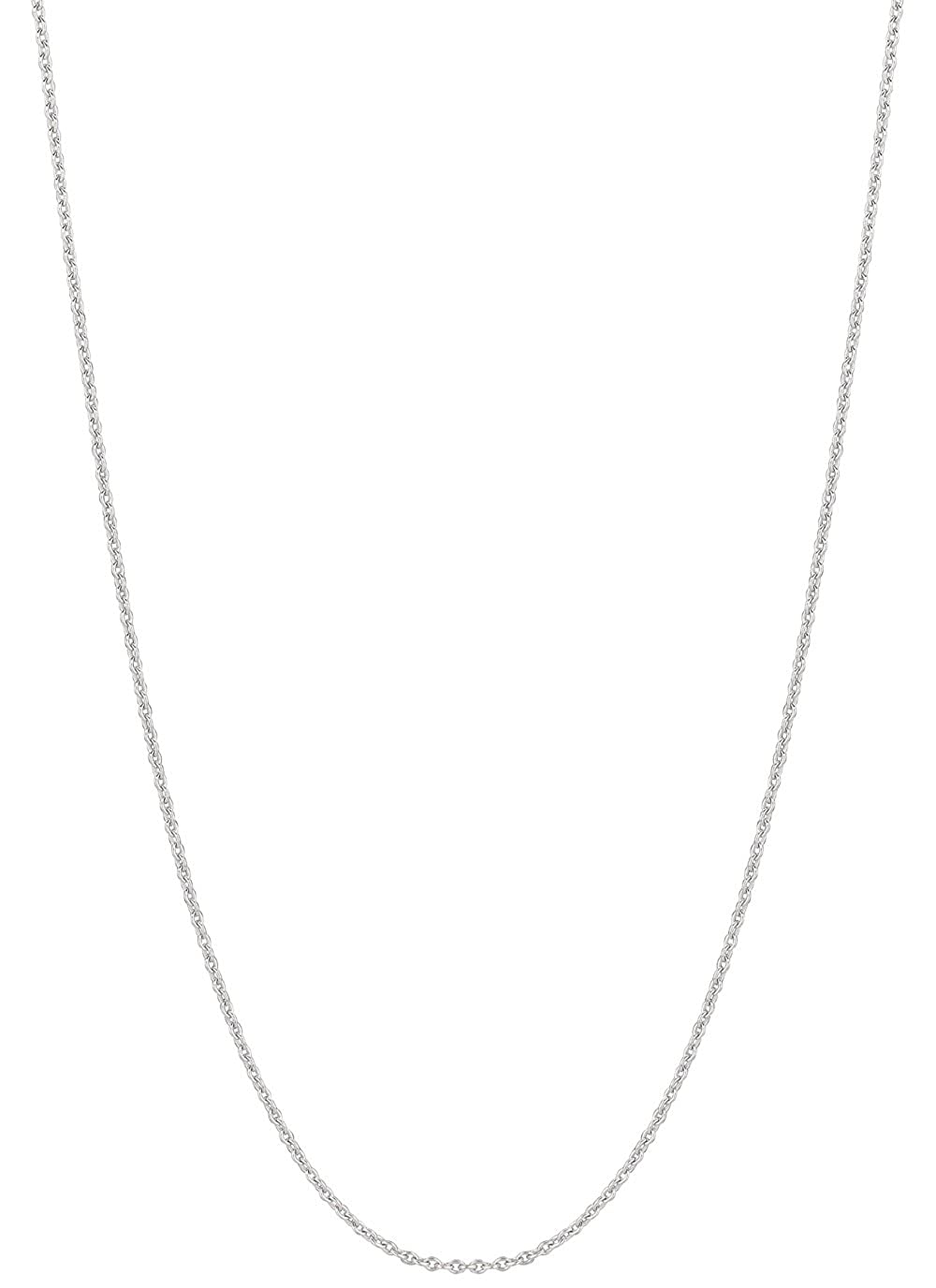 18kt 16 White Gold 1.5mm Diamond Cut Round Cable Chain with Lobster Clasp