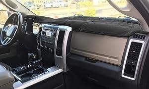 AKMOTOR Dash Cover Mat Custom Fit for Dodge Ram 1500 2009-2018, 2500 3500 2010-2018 Dashboard Cover Pad Carpet Without Dash Speaker (10-18 Black) KJ17
