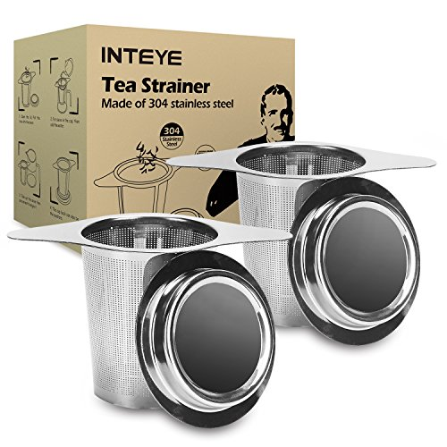 Tea Infuser,Tea Strainer,2 PACK 304 Stainless Steel Water Filter with Double Handles for Hanging on Teapots, Mugs, Cups to steep Loose Leaf Tea and Coffee,Cold Brew Coffee Maker. FDA Approved. - Handle Double Teapot