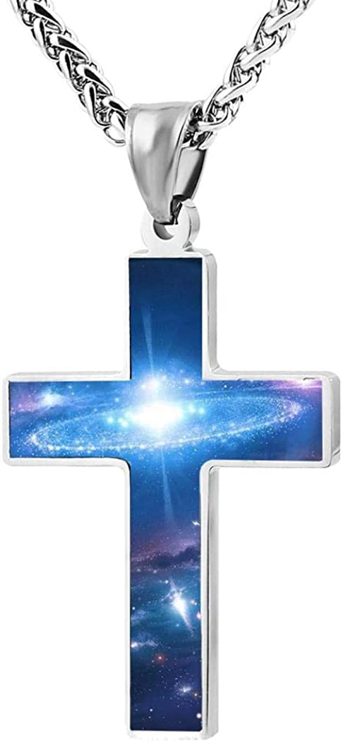 Zinc Alloy Black Cross Pendant Chain Necklace Simple Jewelry Gifts 24 Inches Chain Kicher Colorful Universe Nebula Cross Necklace for Men Women