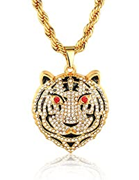 """Halukakah """"TIGER"""" 18k Real Gold Plated Tiger Pendant Necklace with Rope Box Chain 30"""""""