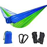 YOUGER Double Camping Hammock - Lightweight Nylon Portable Hammock, Best Parachute Double Hammock For Backpacking, Camping, Travel, Beach, Yard (Blue)