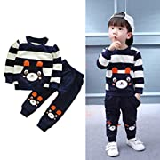 Vovotrade Autumn Winter Outfits Kids Baby Girl Boy Clothes Set Striped Bear Tops+Pants (2T, Navy)