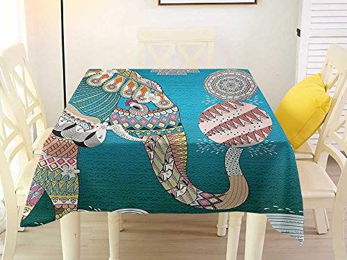 L'sWOW Checkered Square Tablecloth Elephant Spirit Animal with Ornate Patterns Flowers on Body and Circles with Doodle Clouds Image Multi Quilted 50 x 50 Inch