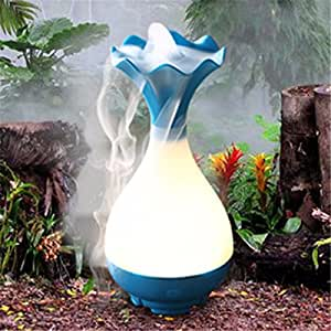 Essential Oil Diffuser LuckyFine USB Humidifier Jade Vase Aromatherapy Diffuser Mist Maker with Light Blue