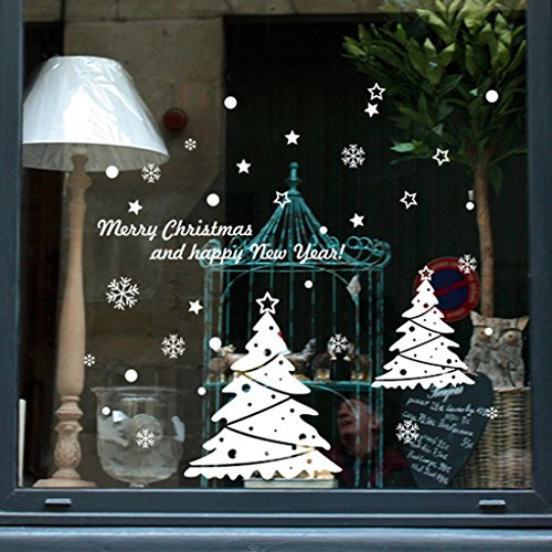 Allrise Merry Christmas Tree Wall Decals, DIY PVC Removable Wall Stickers Murals for Living Room Bedroom Window Home Decorations Art Decor