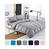 MIFE 4-Pieces Solid Color Bedding, Lightweight Micrifiber Duvet Cover Set, One Flat Sheet One Duvet Cover Two Pillowcases Twin/Full/Queen/King Size … (Queen, Grey)