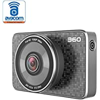 360 FHD 1080p Smart Car Dash Camera with G-Sensor, Night-Vision, WiFi Video Recorder with LCD Display J511C