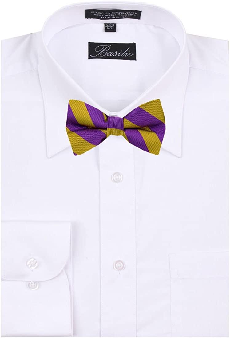 Mens College Repp Stripe Pre-tied Bow Tie Many Colors Available