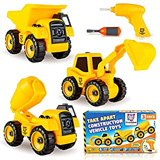 Take Apart Construction Truck Toys - Set of 3 Take Apart Trucks with Toy Drill - Dump Truck, Cement Truck & Tractor Excavator - Great Gift for Boys & Girls Ages 3+