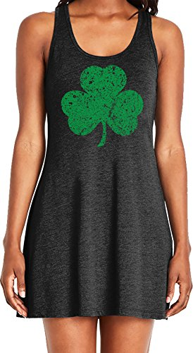 Amdesco Ladies Faded Shamrock, Lucky Clover St Patricks Day Casual Racerback Tank Dress, Black ()