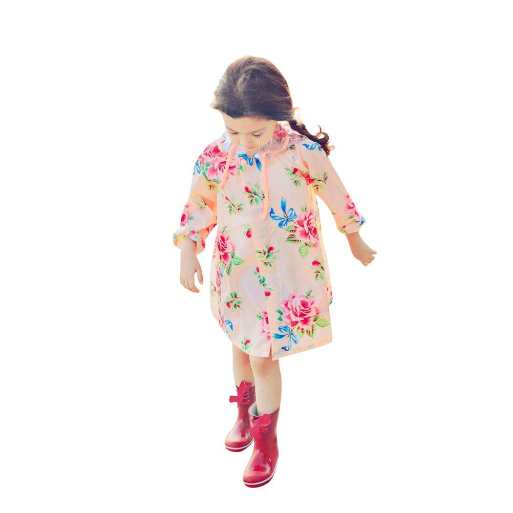 Kids Peony Print Hooded Waterproof Raincoat Rain Coats/Jacket for Girls for Boy