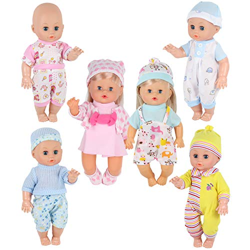 Young Buds 6pcs for 9-10-11 Inch Alive Baby Doll Clothes Dress Reborn Newborn Baby Doll Accessories Gown Costumes Outfits Xmas Gift-wrap