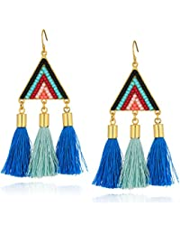 Womens Catalina Seed Bead Statement Earrings with Tassels