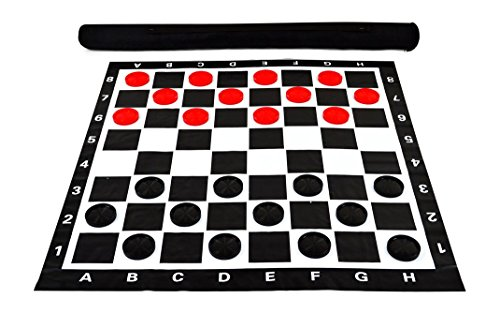 MegaChess 3 Inch Giant Plastic Checkers Set with 28'' x 28'' Vinyl Board by MegaChess