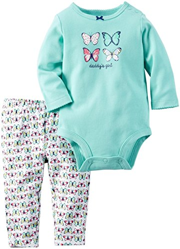 Carter's Baby Girls' Bodysuit Pant Sets 121g810, Mint Butterfly, 6 Months (Mint Set Butterfly)