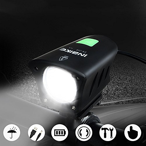 Mercery 800lm USB/DC Smart Charging Rechargeable Waterproof LED Bike Lights Set Cycling Front Bicycle Lamp Flashlight Long Shot Speaker Mountain Front Night Ride Searchlight