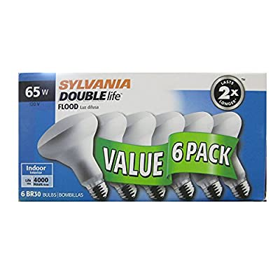 65 Watt Sylvania DOUBLElife Flood Light Bulbs; 65BR30/DL/FL/Rp (S90190; 15951); Value 6 Pack