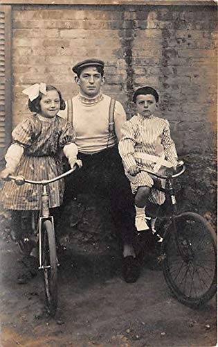 People and Children Photographed on Postcard, Old Vintage Antique Post Card Kids on bicycles 1910