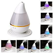 TRADE 250ML Waterless Auto Shut-off and Adjustable Mist mode Ultra-Low Mute Water Droplets Shape 7 Colour Changing Ultrasonic Cool Mist Purifying Air Humidifier for Home Bedroom Baby Room
