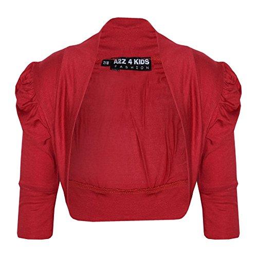 New Kids Girls Ruched Sleeve Stylish Shrug Bolero Cropped Cardigan 2-13 -