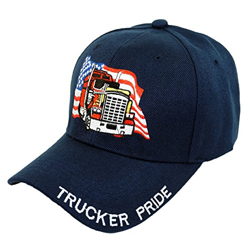 (Bingoo Trucker Pride Embroidery Hat Father Truck USA Pride Baseball Cap (Navy))