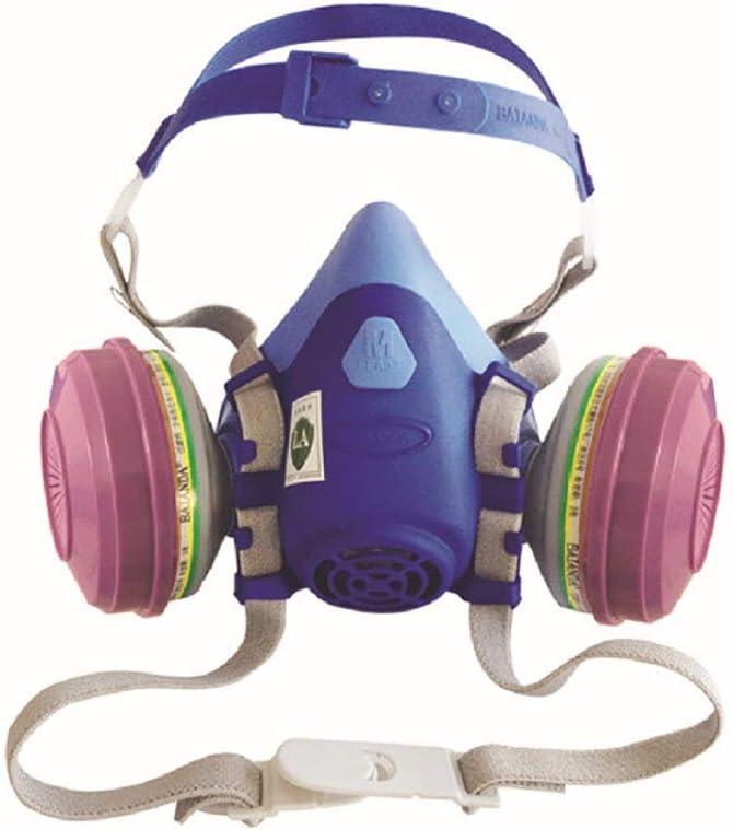 Mascarilla de media cara industrial, a prueba de polvo, filtro de seguridad de carbón activado, mascarillas de gas de goma suave para soldadura de pintura en aerosol