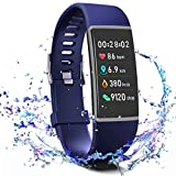 MorePro X-Core Fitness Tracker HR, Waterproof Color Screen Activity Tracker with Heart Rate Blood Pressure Monitor, Smart Wristband Pedometer Watch with Step Calories Counter, Blue