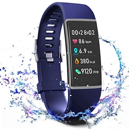 Rate Watch Heart Monitor Pro (MorePro X-Core Fitness Tracker HR, Waterproof Color Screen Activity Tracker with Heart Rate Blood Pressure Monitor, Smart Wristband Pedometer Watch with Step Calories Counter, Blue)