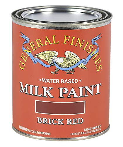 Large Red Brick - General Finishes QBR Water Based Milk Paint, 1 Quart, Brick Red