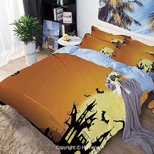 3-Piece Bed,Gothic Haunted House Bats Western Spooky Night Scene with Pumpkin,Twin Size,Hypoallergenic,Cool Breathable,Orange Black]()