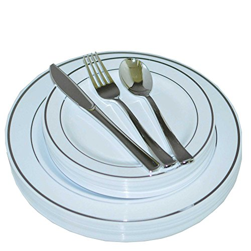 Price comparison product image 200 Piece Heavyweight Party Disposable Plastic Plates and Cutlery Set Includes 40 Dinner Plates 40 Dessert Plates and 40 Pieces of Glossy Silver Plastic Forks Knives and Spoons (Silver)