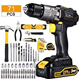 Cordless Drill, 20V, 71Pcs Home Tool Kit, TECCPO Drill Driver with 2.0Ah Battery and Fast Charger, Hammer, Socket Screwdriver, Wrench with Storage Toolbox, Best Choice of Gift