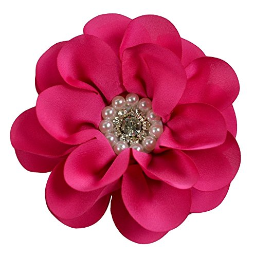 Satin Flower Charlotte Hair Clip with Rhinestone and Pearl Center 4 Inches Wide By Funny Girl Designs (Dark - Pearl Pink Dark