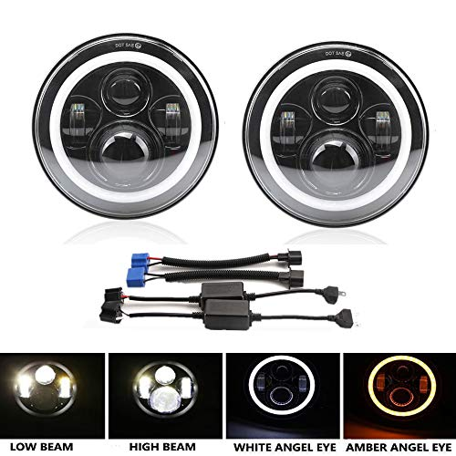 DOT Approved 7'' Round Black LED Halo Headlight Assemblies for Jeep Wrangler JK TJ LJ CJ Mazda Miata Suzuki samurai Hummer H1&H2 (High Low Beam+White DRL+Amber Turn Signal) ()