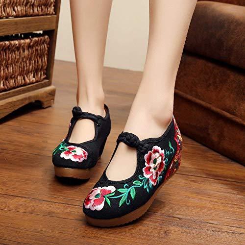 Confortable Noir Mode Féminines Lin 41 Désinvolte Semelle Taille Brodées coloré Style Chaussures Fuxitoggo Tendon Ethnique Augmentées BqUvv7