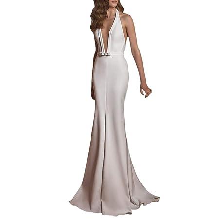 Vestido de noche para mujer, color blanco, vestido de fiesta ...