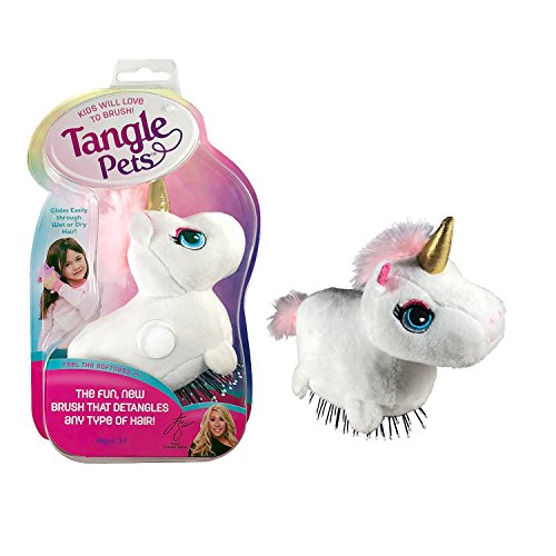 (Tangle Pets SPARKLES THE UNICORN- The Detangling Brush in a Plush, Great for Any Hair Type, Removable Plush, As Seen on Shark Tank )