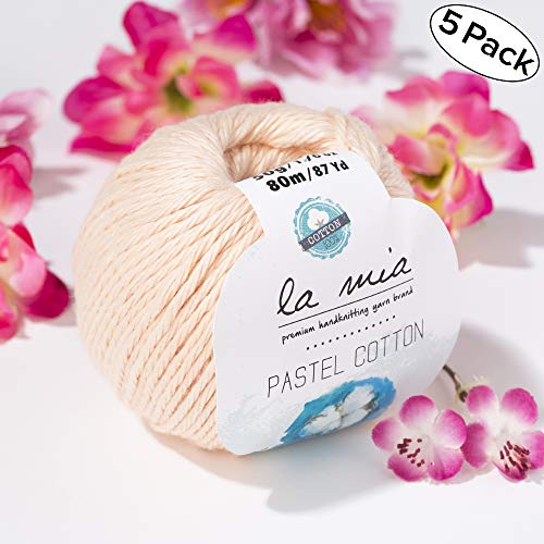 5 Ball Lamia Pastel 100% Cotton Total 8.8 Oz, Each 87 Yrds (80 m) - 1.76 oz (50g) Soft, Worsted, Afghan, Aran Pastel Cotton Yarn, Pastel-Pink - L056