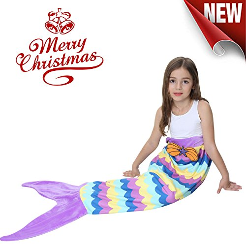 Mermaid Tail Blanket For Girls Kids Soft Plush Flannel Sleeping Bag to Keep Warm All Seasons Blanket for Girl Christmas Birthday Gift Apply To Bedroom Sofa Beach (Fairy Tale Toddler Bed)