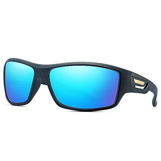 0924fb2605 DOMICARE Wrap Around Polarized Sports Sunglasses Fishing Driving Glasses  Unisex Black-Blue