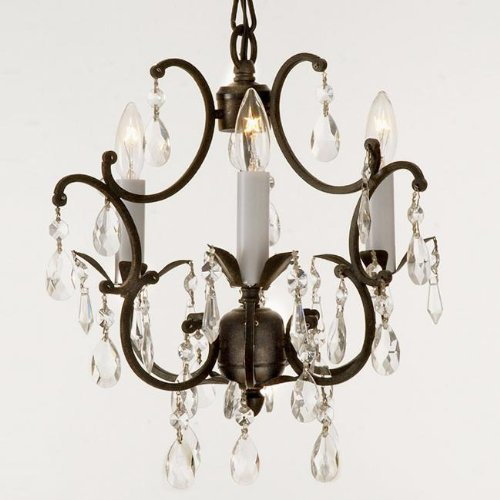 Wrought Iron Crystal Chandelier Lighting Country French , 3 Lights , Free Shipping , Ceiling Fixture