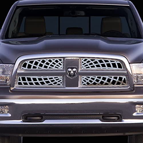 Ferreus Industries Grille Insert Guard Spiderweb Polished Stainless fits 2009-2012 Dodge Ram 1500 TRK-116-07-Chrome-a