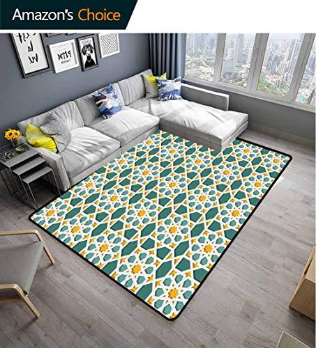 Bigdatastore Teal Polka Dot Area Rug Non Slip Pad, Moroccan Interlacing Star Pattern Ornamental Mosaic Design Traditional, Fashionable High Class Living Bedroom Rugs(2.5'x 7')