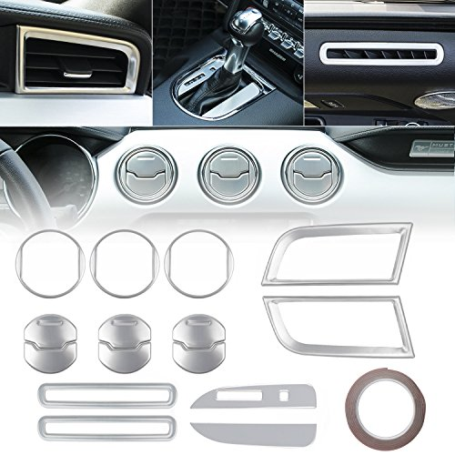 Payanwin 2015~2018 Ford Mustang Interior 15 PCS Accessories Decoration Set Console Central, Door, Dash Board Side Air Conditioner Outlet Vent, Chrome Shift Gear Box Switch Button Cover Trim (Silver)