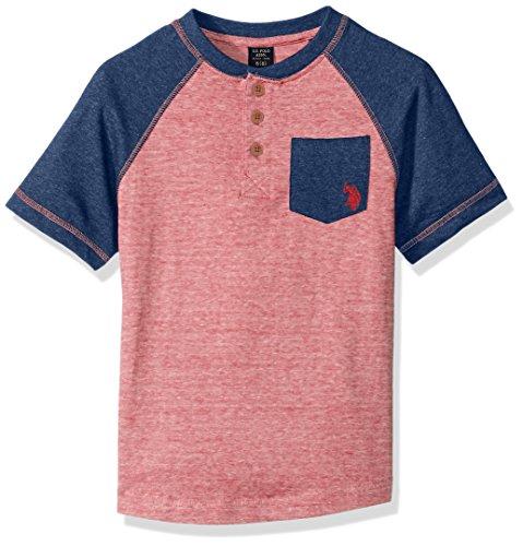 U.S. Polo Assn. Boys' Little Short Sleeve T, Mini Stripe Raglan Henley Shirt Engine red, - Henley Mini T-shirt