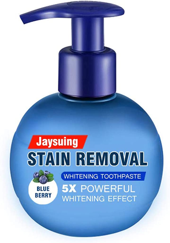 MAMaiuh Jaysuing Toothpaste Set Stain Removal Whitening Toothpaste Fight Bleeding Gums Fresh Toothpaste,Bluebettry Aroma and Pressing Style (Blue)