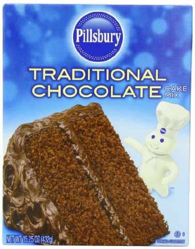 - Pillsbury Traditional Cake and Cupcake Baking Mix, Chocolate, 15.25 Ounce (Pack of 12)