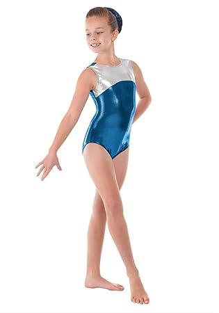 Vestido de gimnasia sin mangas para niña, brillante, color plateado y azul azul azul