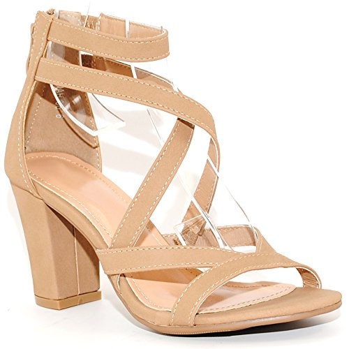 TRENDSup Collection Women's Chunky Heel Ankle Strap Sandals (6, Tan)